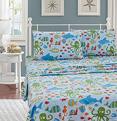 Kids Zone Home Linen Sheet Set Sea Life Octopus Crabs Fishes Wheals Sharks Light Blue Green Red Orange