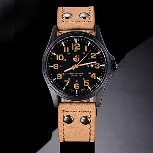 2020 Spring Deals ! Vintage Classic Men's Waterproof Date Leather Strap Sport Quartz Army Watch Under 5 Best Gifts for Lovers