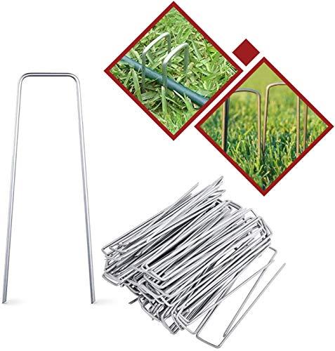 Cskunxia 50 anclajes en forma de U para tienda de campaña, jardín, 15 cm de largo