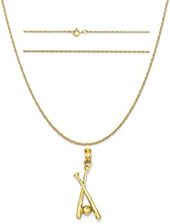 K/&C 14k Yellow Gold Polished Seahorse Pendant on 14K Yellow Gold Carded Rope Chain Necklace