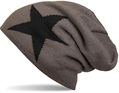 styleBREAKER styleBREAKER warme Klassische Strick Beanie Mütze mit Stern und sehr weichem Innenfutter, Unisex 04024026, Farbe:Dunkelgrau