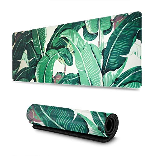 Banana Leaves Gaming Mouse Pad XL, Extended Large Mouse Mat Desk Pad, Stitched Edges Mousepad, Long Non-Slip Rubber Base Mice Pad, 31.5 X 11.8 Inch