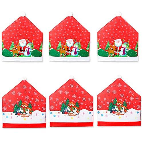 CheeseandU Christmas Chair Covers Set of 6, Santa Claus Snowman Printed Design Christmas Dining Chair Slipcovers Chair Back Covers Dining Room Hotel Xmas Holiday Party Decoration