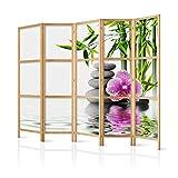 murando - Paravent XXL Spa Blumen Orchidee 225x171 cm - 5-teilig - einseitig - eleganter Sichtschutz - Raumteiler - Trennwand - Raumtrenner - Holz - Design Motiv - Deko - Japan p-B-0033-z-c
