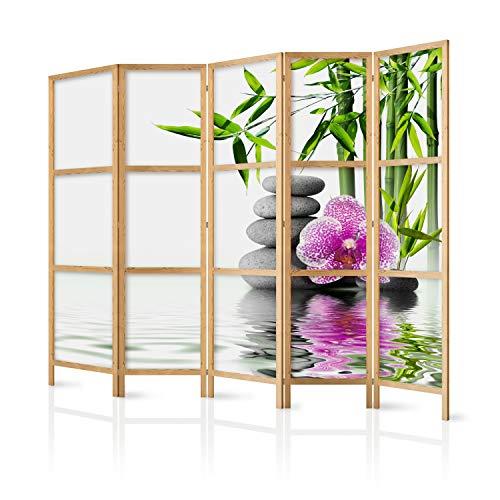 murando - Paravent XXL Spa Blumen Orchidee 225x171 cm 5-teilig einseitig eleganter Sichtschutz Raumteiler Trennwand Raumtrenner Holz Design Motiv Deko Home Office Japan p-B-0033-z-c