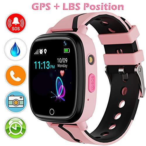 YENISEY GPS Smartwatch para Niños, localizador GPS Reloj Rastreador de TeléFono para Niñas y Niños Smartwatch con Monitor Remoto CáMara Linterna Reloj Despertador Juego de ConversacióN por Voz SOS