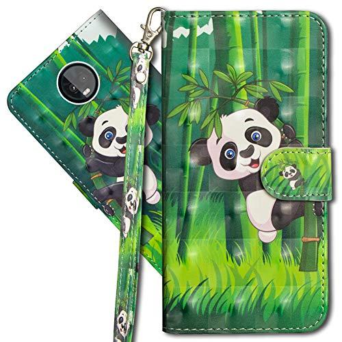MRSTER Moto Z3 Play Handytasche, Leder Schutzhülle Brieftasche Hülle Flip Hülle 3D Muster Cover mit Kartenfach Magnet Tasche Handyhüllen für Motorola Moto Z3 Play. YX 3D - Panda Bamboo