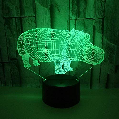 MQJ Lámpara LED de ilusión 3D con diseño de hipopótamo animal, luz nocturna óptica, 16 colores cambiantes de botón táctil, decoración de escritorio, lámparas de escritorio,