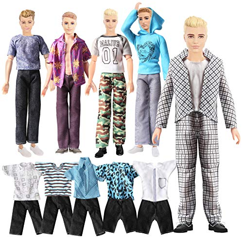 Doll Clothes for Ken Doll Lot 20 Items Handmade Dresses Fits 11.5 Inch 12 Inch Boyfriend Doll Outfits Clothes for Boy Dolls Fashion Casual Wear Clothes Business Dresses Doll Man Accessories 10 Sets