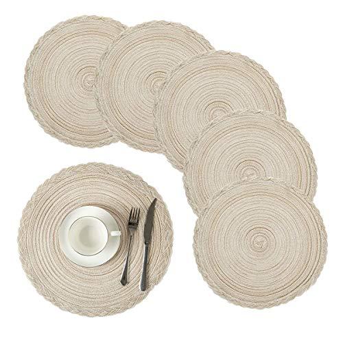 Pauwer 38cm gewebte runde Tischsets Wärmeisolierung rutschfeste geflochtene Baumwolle Esstischmatten Großer waschbarer Küchen-Esstisch(Kreis Elfenbein Weiß, 6er Set)