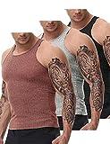 PJ PAUL JONES Men's Y-Back Tank top 3 Pack Slim-Fit Sleeveless Muscle T Shirts (Black/Light Grey/Red,Medium)