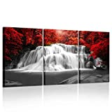 Kreative Arts Black White and Red Canvas Wall Art 3 Pieces Red Woods Waterfall Canvas Print Landscape Paintings Framed Picture for Office and Home Décor Ready to Hang 16x24inchx3pcs
