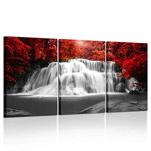 Kreative Arts Black White and Red Canvas Wall Art 3 Pieces Red Woods Waterfall Canvas Print Landscape Paintings Framed Picture for Office and Home D
