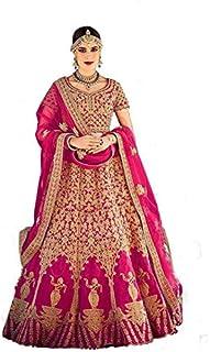 Nir Fashion Women's Satin Semi-stitched Lehenga Choli (N_F Peach B4u_Peach_Free Size)