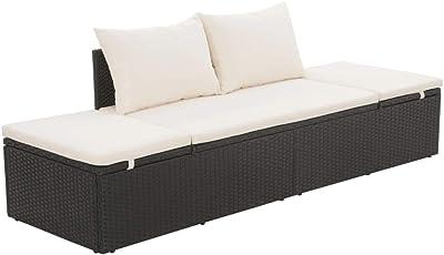 Tidyard Outdoor Wicker Chaise Lounge Chair, Garden Sofa Bed Poly Rattan