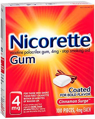 Nicorette Nicotine Gum Cinnamon Surge 4 milligram Stop Smoking Aid 200 count