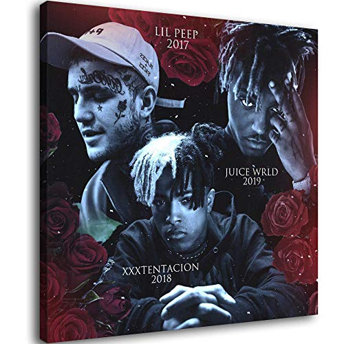 Lil peep x xxtentacion Juice wrld Canvas Art Poster and Wall Art Picture Print Modern Family Bedroom Decor Posters