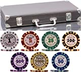 (300 + 20) Chips Clay Pro Poker Set in a Vinyl Leather case - 320 Heavyweight 14 g Casino-Quality Poker Chips - Plastic Cards with Cutting Cards - Casino-Green Poker Felt Included (Style B)
