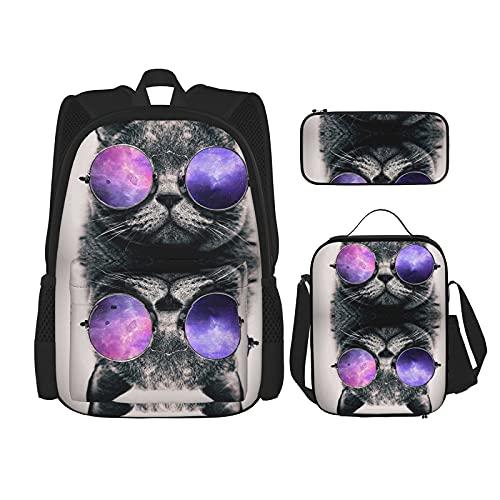 Cool Cat con gafas de sol 2 mochilas para la escuela niños niñas 3 piezas mochila conjunto con bolsa de almuerzo estuche