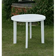 90CM White Resin Patio Table
