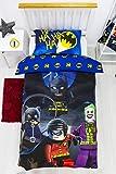 Character World LEGO - Copripiumino singolo ufficiale Batman DC, design supereroi | Set di biancheria da letto reversibile per ragazzi e bambini e adolescenti, colore: blu, LG9CLGDS001UK1