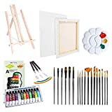 Artist Painting Set 37Pcs Art Supply with Wooden Table Easel, 12 Acrylic Colors, Stretched Canvas,Palette Knife, Paint Brushes & Plastic Palette for Drawing Beginners Painting Learner