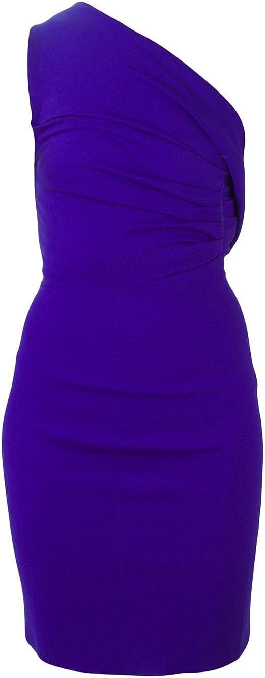 DSQUARED2 Purple Wool One Shoulder Dress