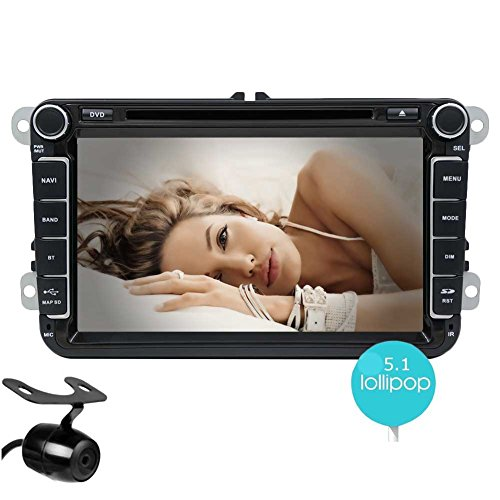 Backup Camera+ Android 5.1 Quad Core Car Stereo Radio Double DIN In Dash GPS Navigation Car DVD CD Player 8 Inch Capacitive Touch Screen Headunit Support Bluetooth/WiFi/1080P Video