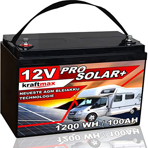 kraftmax Industrial Pro Bleiakku [ 12V / 100Ah / Solar Akku ] AGM Hochleistungs- Blei Akku der Neusten Generation