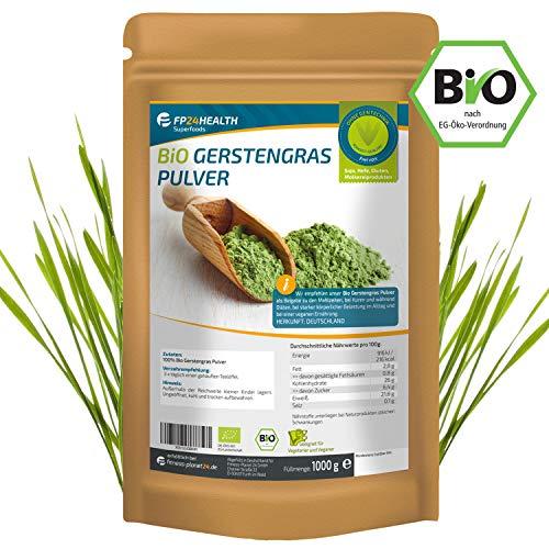 Gerstengras Pulver Bio 1000g - Laborgeprüft - 1kg Gerstengraspulver aus Bayern im Zippbeutel - Top Qualität