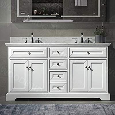 """London 60""""Bathroom Vanity with authentic Italian Carrara Marble top 8"""" faucet holes