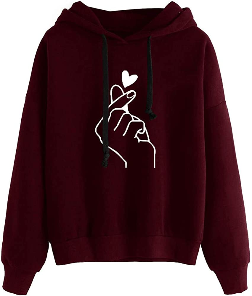 Zieglen Hoodies for Women Print Drawstring Cotton Solid Loose Long Sleeve Casual Sweatshirts Pullover Tops Shirts Sweaters