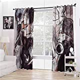 Toopeek - Cortinas opacas con ojales para decoración de jazz y saxofón con bailarines (2 paneles), color marrón oscuro y malva