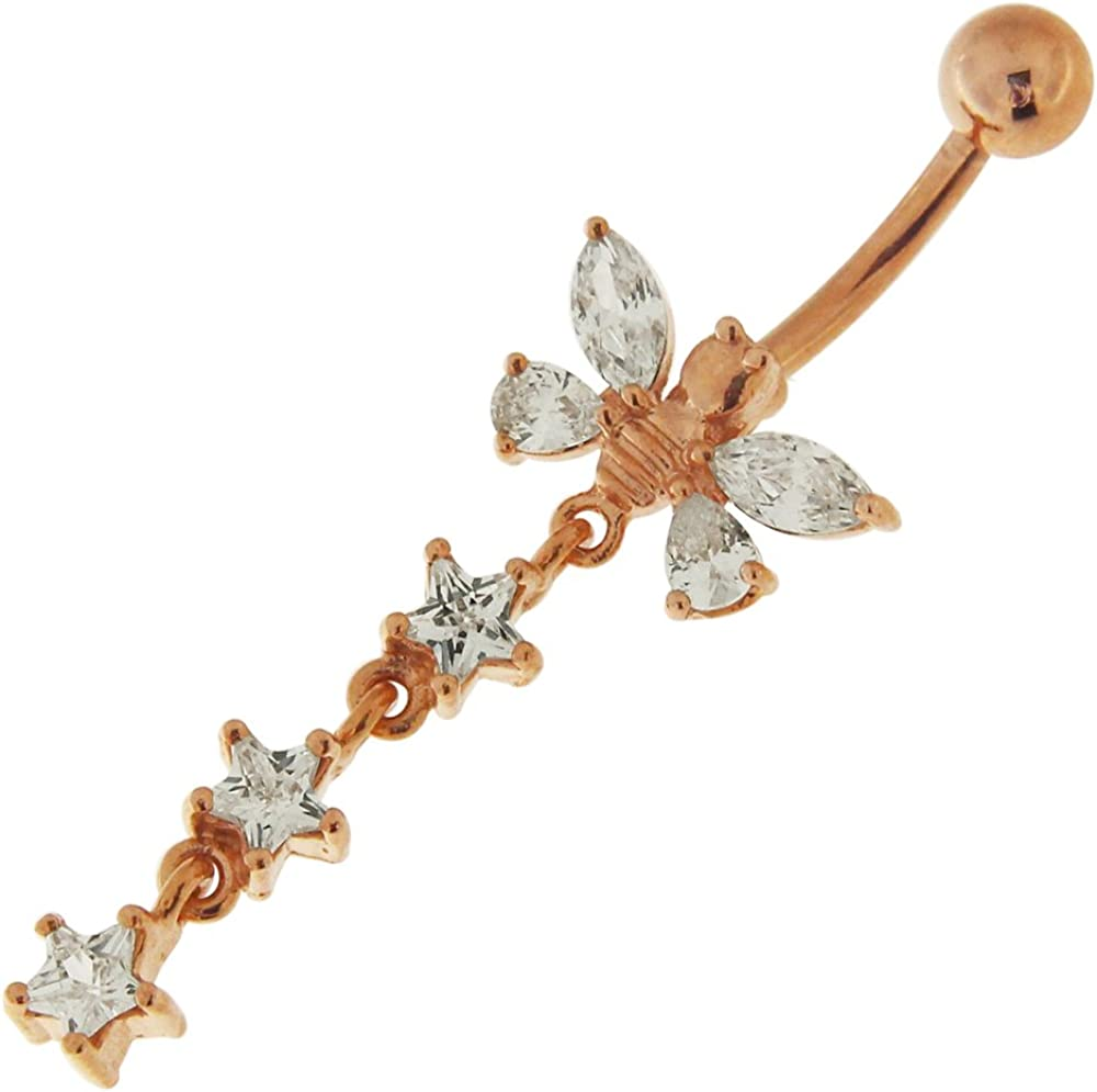 3 Micron 18K Rose Gold Plated Stone with Star Regular store Butterfly Brand new CZ Clear