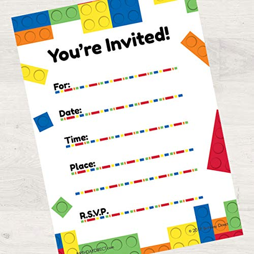 Birthday Direct Lock Blocks Fill in Invitations 16 Count with Envelopes - 16 Pack Building Toys Party Invites for Boys Birthday, Sleepover