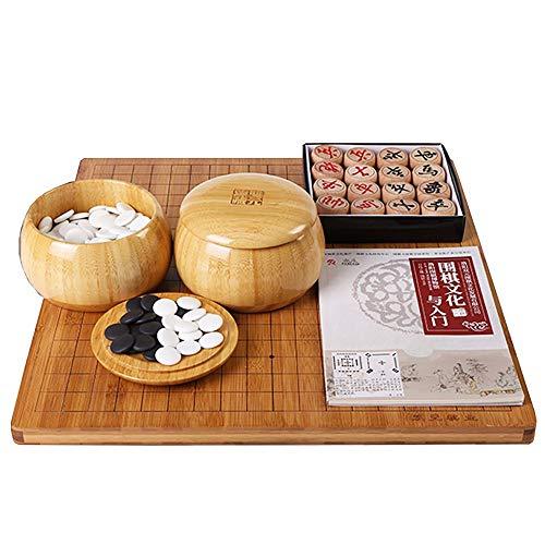 Go Renju Chinese Chess Set, 3 in 1 Gameplay, Brett und Schachglas aus Bambus, Gomoku, Puzzlespiel