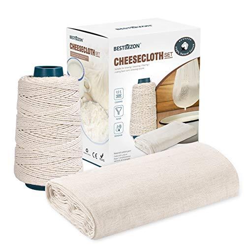 BESTonZON Grade 90 Passiertuch und Kochschnur,Wiederverwendbar 100% Ungebleichter Baumwoll Käsetuch für die Käseherstellung, Nussmilchg, Kochen