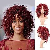 Royalvirgin Moda Rihanna peluca pelucas de pelo lleno lleno del casquillo peluca rizada peluca roja rizada peluca de pelo sintética para las mujeres