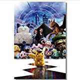 hfwh Pegatinas De Pared, Detective Pikachu, Vinilo Decorativo Grande, Juego De Pokémon, Papel Tapiz,...