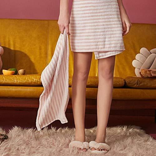 ZJ Nachtjapon Badjassen Ins Kan worden uitgerust met Badjassen Robe Absorbens Dames Leuke Huishoudelijke Handdoek Badhanddoek Gestreept Lange Handdoek 35Cmx75Cm, Wit, M