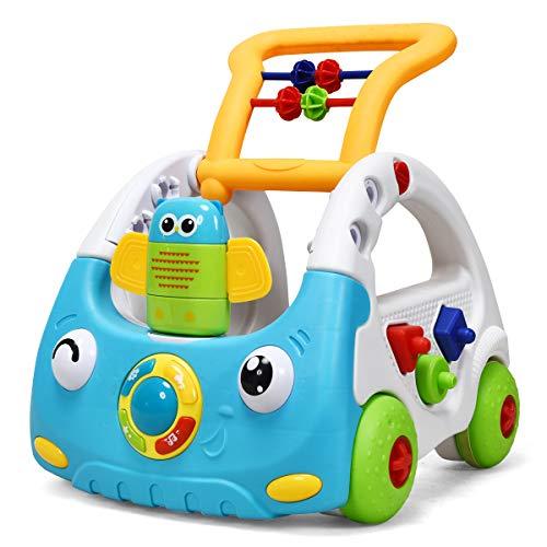 COSTWAY 3 in 1 Lauflernhilfe, Baby Walker höhenverstellbar, Gehfrei mit Musik & Licht, Laufhilfe inkl. Fernbedienung, Lauflernwagen, Spielwagen geeignet für Kinder von 6-36 Monaten (Blau)