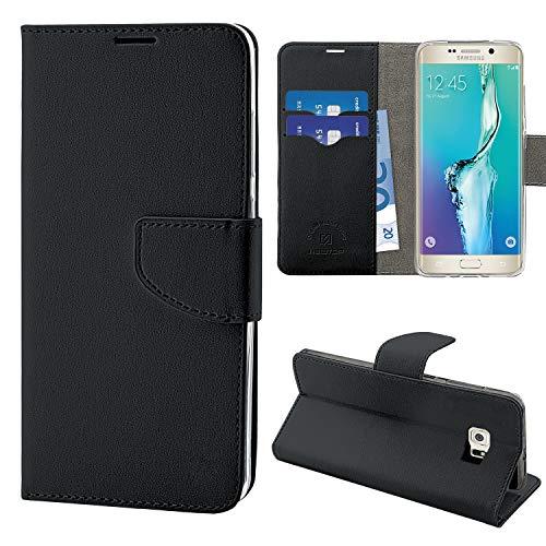 N NEWTOP Cover Compatibile per Samsung Galaxy S6 Edge Plus, HQ Lateral Custodia Libro Flip Chiusura Magnetica Portafoglio Simil Pelle Stand (Nera)