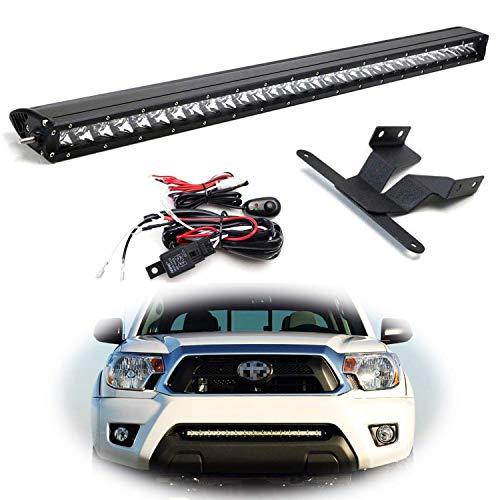 iJDMTOY Kit de barra de luces LED de montaje en parrilla inferior de 30 pulgadas para Toyota Tacoma 2005-2015, incluye (1) Barra de luces LED CREE de alta potencia de 150V, soportes de montaje de apertura del parachoques inferior y kit de cableado del interruptor de encendido / apagado