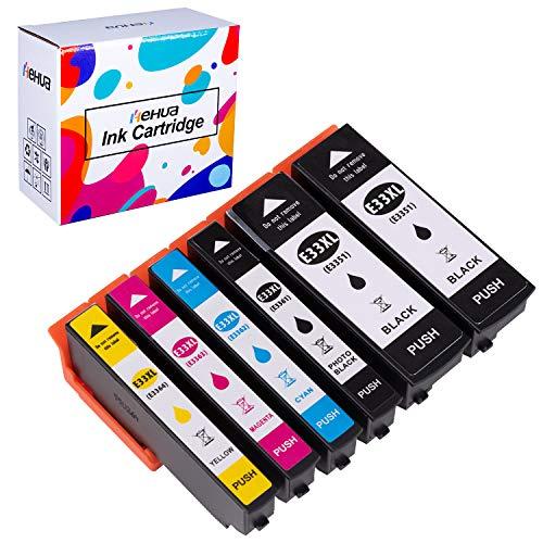 Hehua 33XL Compatible Cartouches d'encre Remplacer pour Epson 33XL pour Epson Expression Premium XP-530 XP-630 XP-830 XP-635 XP-540 XP-640 XP-645 (2 Noir, 1 Photo Noir, 1 Cyan, 1 Magenta, 1 Jaune)