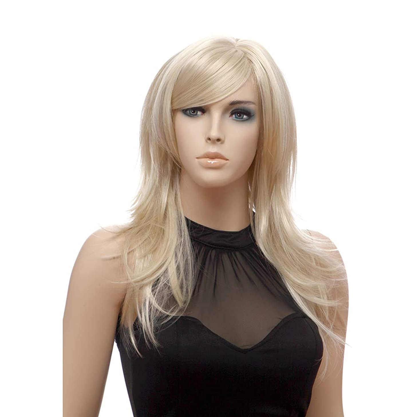 XZEN Natural Straight Hair Wig Medium Length Blonde Synthetic Wig with Side Bangs Cosplay Costume Party Wigs for Women Girls