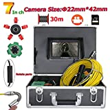 MYZZ Telecamera di ispezione per condutture di tubazioni 30M / 98ft Scarico Sistema di tubature Video con 7 Pollici Monitor LCD Registratore 1000TVL DVR (Include Scheda SD da 8 GB)