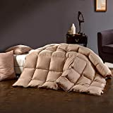 ZHYU Weiße Ente Gänsedaunen Feder Schwan Print Tröster Baumwolle Quilt Blanket-4 Größen-220x240cm_Khaki