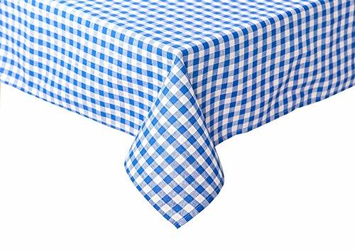 TextiDepot24 Nappe à carreaux pour table de bière 100 % coton, Coton, Carreaux bleus et blancs., 110 x 260 cm