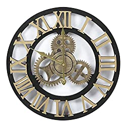 Adeco 3D Retro Rustic Vintage Gear Noiseless, Wooden Decoration Wall Clocks, 19 Inch, Roman-Gold