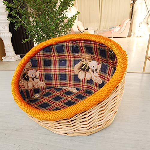 CHL Pet Bed rattan wicker kennel Cat litter straw braided Teddy kennel Cat litter winter summer special Bed-10.21 (Size : L)